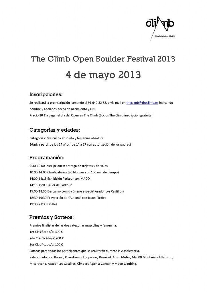 Segundo Open Boulder Festival The Climb, el 4 de mayo de 2013 2